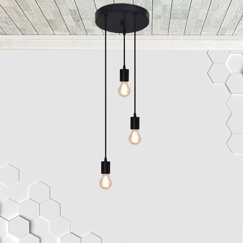 Потолочный подвеснаой светильтник на 3-лампы CEILING-3G E27 на кругу, чёрный