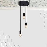 Потолочный подвеснаой светильтник на 3-лампы CEILING-3G E27 на кругу, чёрный, фото 1