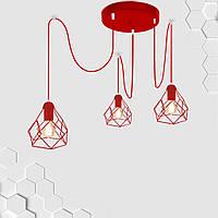 Подвесная люстра на 3-лампы RUBY/SP-3R E27 красный, фото 1