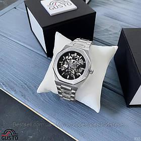 Оригинальные мужские наручные часы скелетоны механика с автоподзаводом Gusto Skeleton Silver-Black