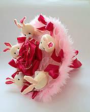 Букет из мягких игрушек Аметист / Плюшевый букет / Букет из зайчиков / подарок для девочки