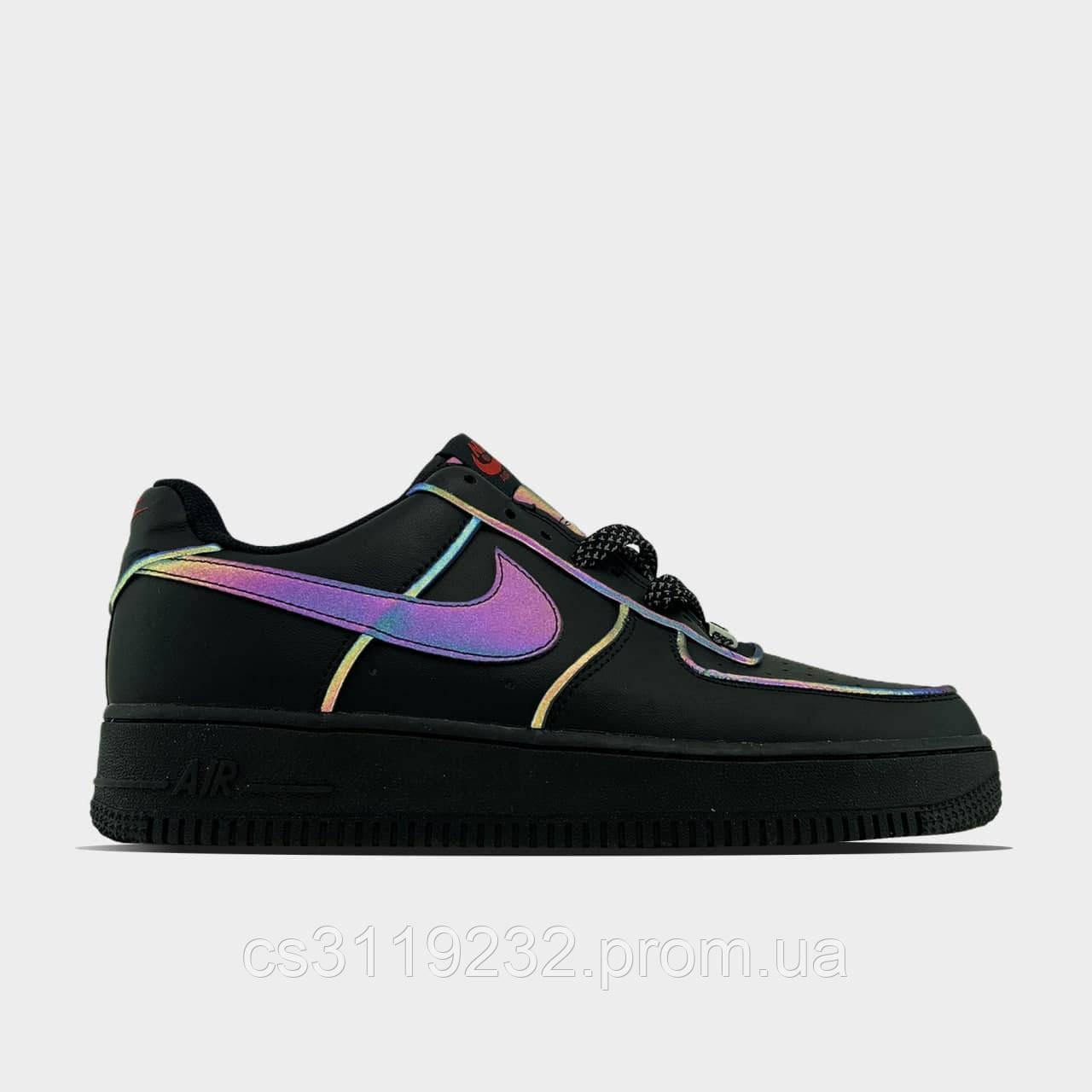 Женские кроссовки Nike Air Force Low Black refkective (черные)
