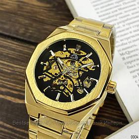 Оригинальные мужские наручные часы скелетоны механика с автоподзаводом Gusto Skeleton Gold-Black