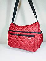 Сумка  дутая стеганая 4 кармана женская красная