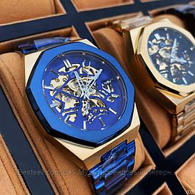 Оригинальные мужские наручные часы скелетоны механика с автоподзаводом Gusto Skeleton Blue-Gold