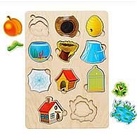 Дерев'яна рамка-вкладиш, Хто, де живе, 2+, фото 1