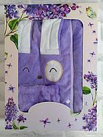 Набор для сауны бани подарочный 3в1 полотенце р. 80х135 см микрофибра плюш с челмой и повязка для волос, фото 1