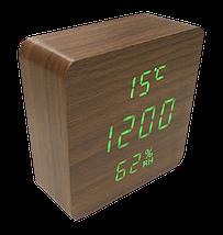 Электронные настольные часы-будильник Led Wood Clock VST-872S-3 - часы с индикатором влажности и температуры, фото 2