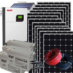 4 кВт автономная солнечная электростанция с инвертором MUST 5кВт/48В МРРТ контроллер и резервом АКБ 4,8 кВт*ч