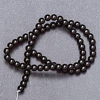 Бусины из натурального камня черный Агат (пресс.) на нитке d-6мм L- 37см
