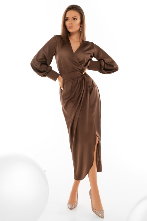 Нарядне плаття на запах з широким рукавом 44,46,48,50 розмір