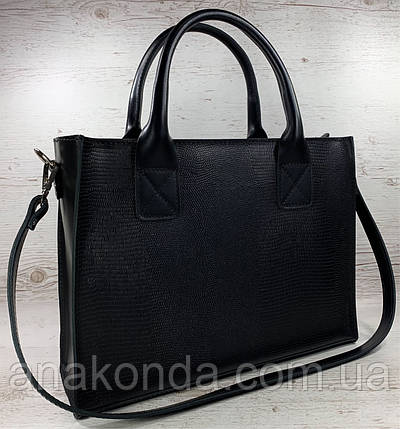 81 Натуральная кожа Женская сумка черная кожаная формат А4 на подкладке женская сумка черная размер а4, фото 2