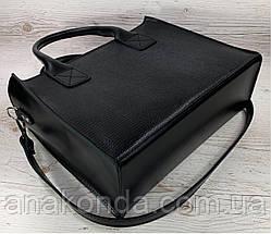81 Натуральная кожа Женская сумка черная кожаная формат А4 на подкладке женская сумка черная размер а4, фото 3