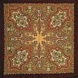 Юлія 1230-17, павлопосадский хустку (шаль) з ущільненої вовни з шовковою бахромою в'язаній, фото 8