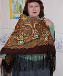 Юлія 1230-17, павлопосадский хустку (шаль) з ущільненої вовни з шовковою бахромою в'язаній, фото 6