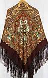 Юлія 1230-17, павлопосадский хустку (шаль) з ущільненої вовни з шовковою бахромою в'язаній, фото 5