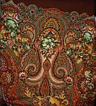 Юлія 1230-17, павлопосадский хустку (шаль) з ущільненої вовни з шовковою бахромою в'язаній, фото 9