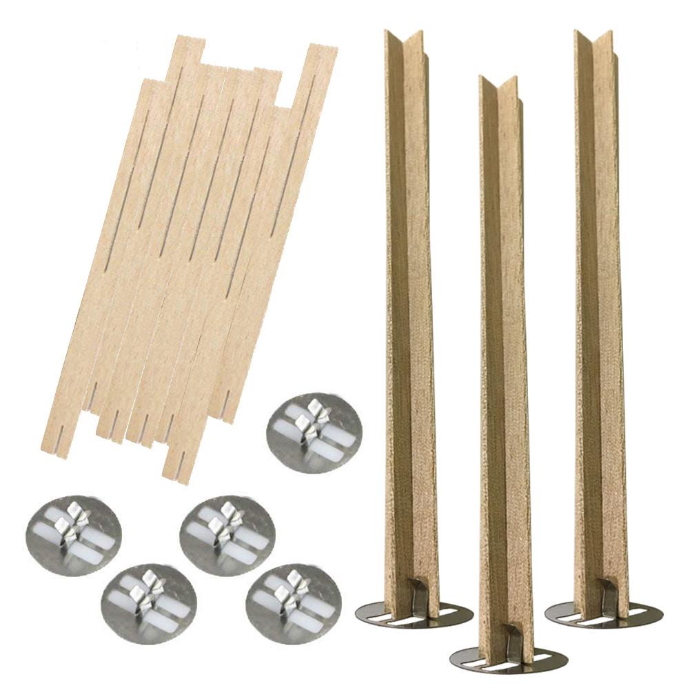 Деревянный фитиль крестообразный с металлическим держателем высотой 13 см, ширина 1,3 см