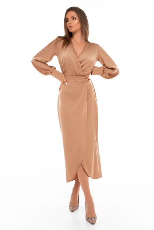 Нарядное платье на запах с широким рукавом 44,46,48,50 размер