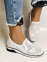 24pfm. Женские летние туфли -кроссовки белые на невысокой платформе. Натуральная кожа. Размер 23.0 23,5, фото 3
