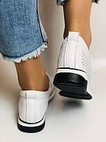 24pfm. Женские летние туфли -кроссовки белые на невысокой платформе. Натуральная кожа. Размер 23.0 23,5, фото 8