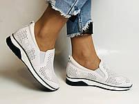 24pfm. Женские летние туфли -кроссовки белые на невысокой платформе. Натуральная кожа. Размер 23.0 23,5, фото 4