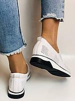 24pfm. Женские летние туфли -кроссовки белые на невысокой платформе. Натуральная кожа. Размер 23.0 23,5, фото 6