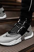 Кроссовки мужские спортивные весенние Nike (Найк) черные-серые | Кеды мужские осенние демисезонные ЛЮКС, фото 1