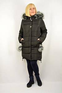 Куртка-пуховик с мехом черная - Модель Х26-1