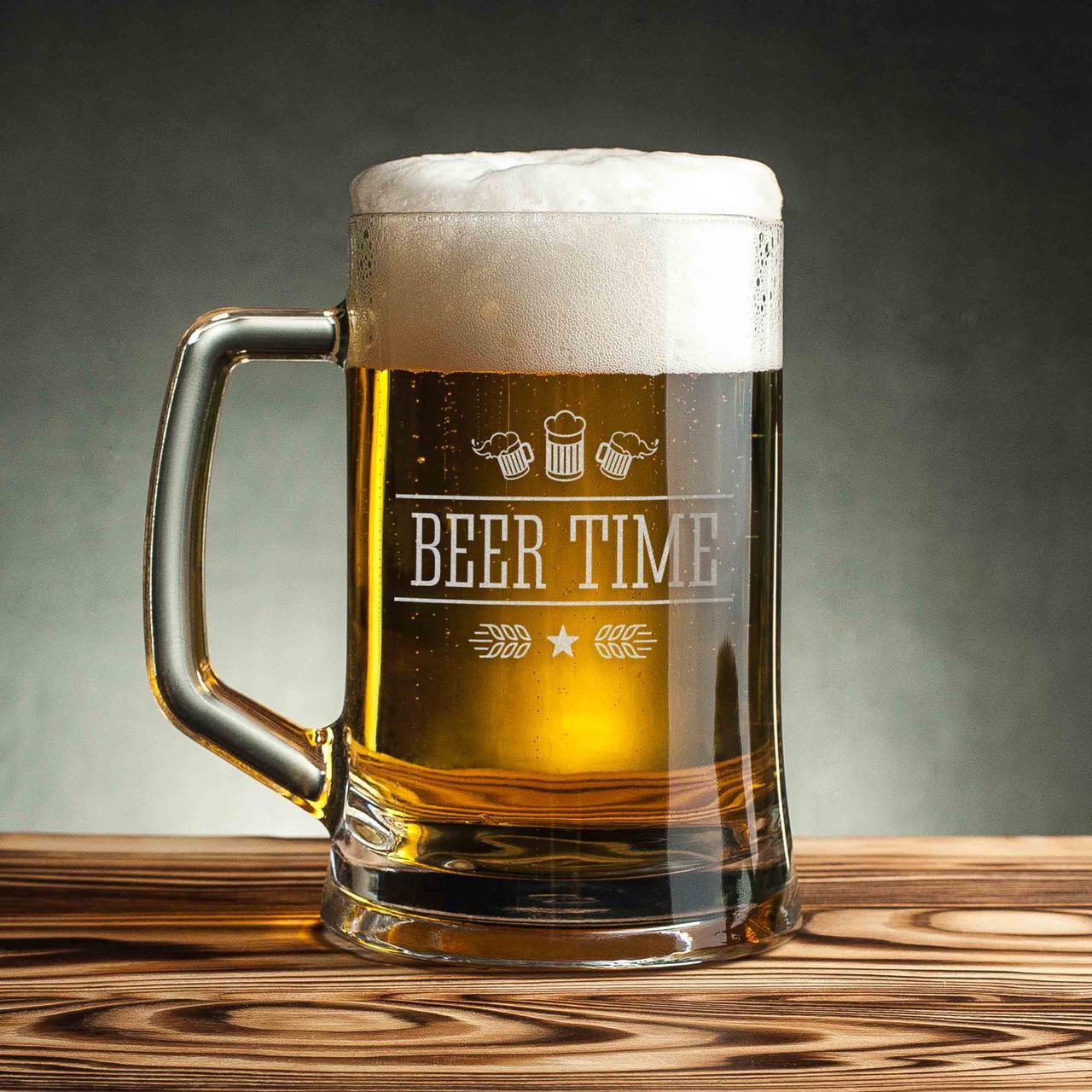 """Кружка для пива """"Beer time"""" с ручкой"""