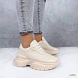 Женские кроссовки пудра эко кожа, фото 7