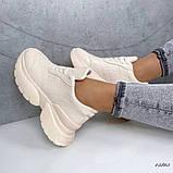 Женские кроссовки пудра эко кожа, фото 4