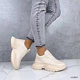 Женские кроссовки пудра эко кожа, фото 6