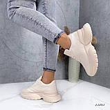 Женские кроссовки пудра эко кожа, фото 5