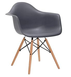 Обеденное кресло Тауэр Вуд серое пластиковое ножки деревянные