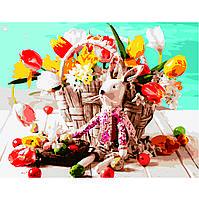 Картина по номерам Strateg Игрушка зайченка возле корзины цветов, 40х50 см