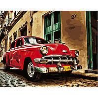 Картина по номерам Strateg Красная ретро машина, 40х50 см