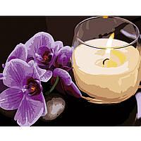 Картина по номерам Strateg Орхіидея со свечкой, 40х50 см