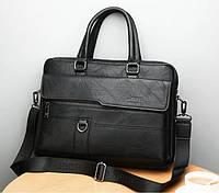 Мужской деловой портфель для документов формат А4, мужская сумка для бумаг папок Jeep через плечо эко кожа