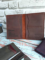 Обложка (портмоне,холдер) увеличенная для документов охотника из натуральной кожи ручной работы от SSI Leather