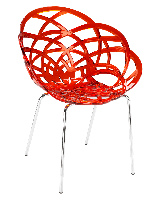 Кресло Papatya Flora-ML прозрачно-красное сиденье, ножки хром