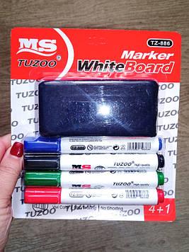 Набор маркеров сухостираемых TZ-886 для доски (4 цвета) + губка