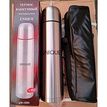 Термос металевий UNIQUE UN-1003 0,75 л з чохлом, питної термос, фото 2