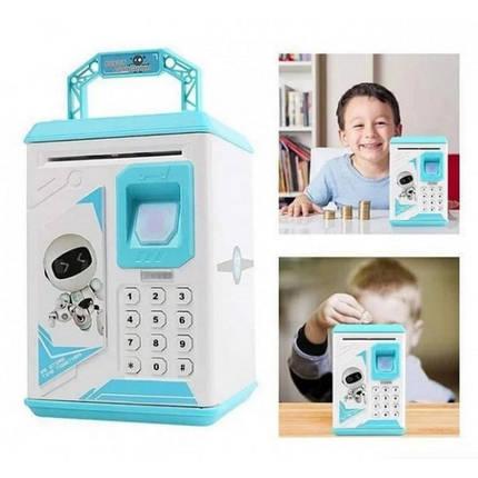 Дитячий сейф скарбничка Robot Bodyguard №.906 з відбитком пальця, кодовим замком і купюропріємником Синій, фото 2