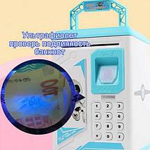 Дитячий сейф скарбничка Robot Bodyguard №.906 з відбитком пальця, кодовим замком і купюропріємником Синій, фото 3