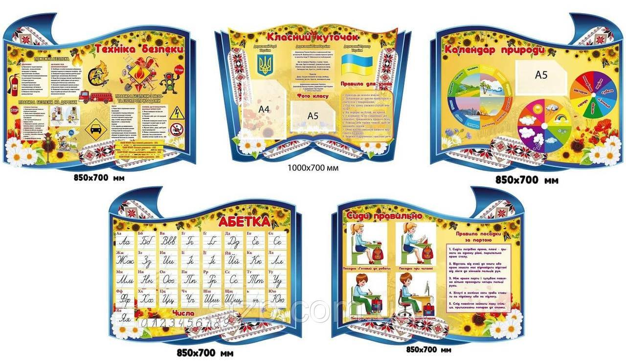 Комплект стендов для начальных классов (синий фон)