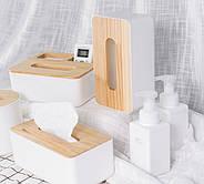 Диспенсер для серветок серія Wood білий (22013), фото 3