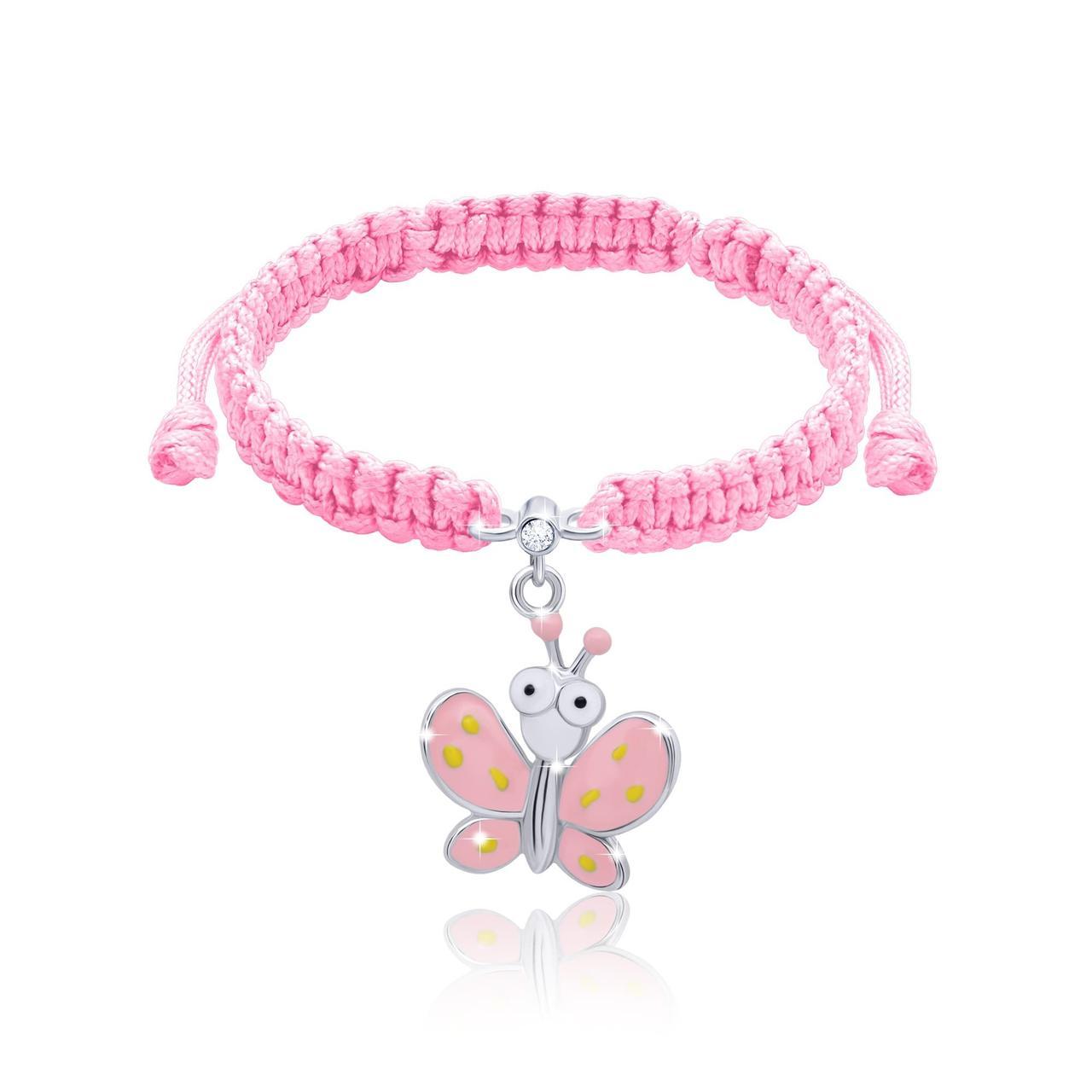 Браслет плетеный UMa UMi Бабочка розовая с глазами (419543000611)