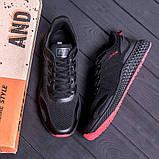Чоловічі чорні кросівки з чорною підошвою, фото 4