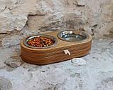 КІТ-ПЕС by smartwood Миски на подставке   Миска-кормушка металлическая для собак щенков  XS - 2 миски, фото 3